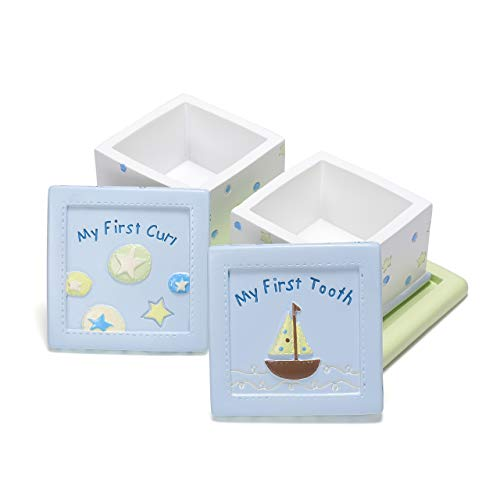 Mogoko Blue Tooth Box, Baby Child First Tooth and Curl Keepsake Boxes Set, Kids Teeth Fairy Organizer Holder for Boy or ()
