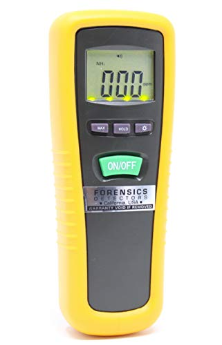 Basic Ammonia NH3 Detector, Meter and Analyzer by FORENSICS | 0-1000ppm with 1ppm resolution & error <5ppm | Business & Industrial Use | Soft Touch Rubber Grip | Large Display & Backlight | from FORENSICS DETECTORS FD