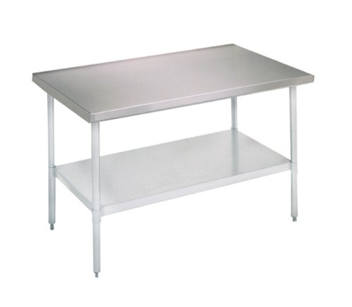 John Boos E Series Stainless Steel 430 Budget Work Table, Adjustable Undershelf, Flat Top, Galvanized Legs, 60'' Length x 24'' Width