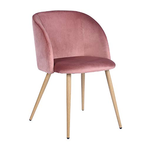 HOMY CASA Accent Living Room Armchair Velvet Dining Chair Eiffel Style Side Chair with Metal Legs, Rose (Chairs Metal Pink Dining)