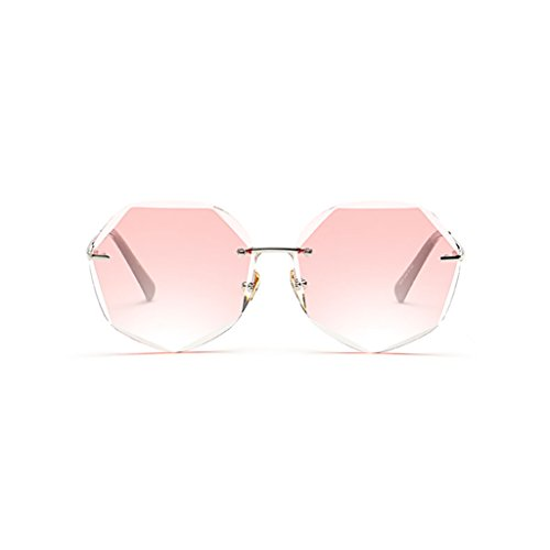 Gafas la WLHW de Marco Pink de Tendencia Cambio Blue Femenina Pink Gradual poligonales sol Color SSWrp