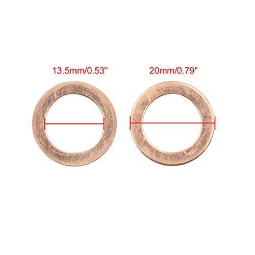 X AUTOHAUX 13.5mm Inner Dia Copper Flat Washers Car Sealing Gaskets Rings 50pcs by X AUTOHAUX (Image #2)