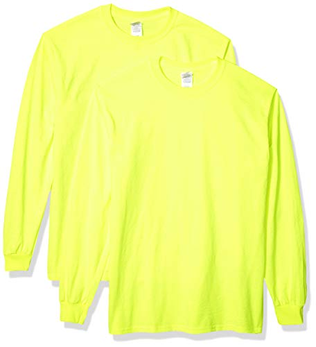 Gildan Men's Ultra Cotton Adult Long Sleeve T-Shirt, 2-Pack Shirt, -Safety Green, ()