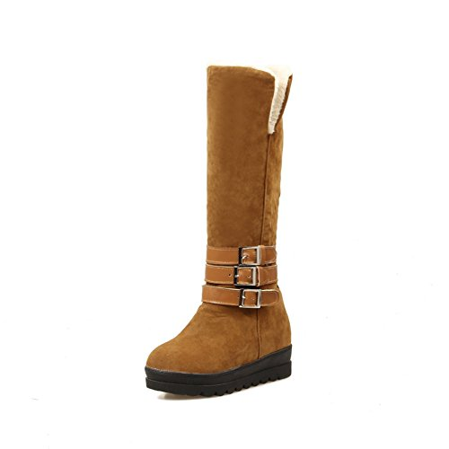 AdeeSu Girls Platform Heighten Inside Buckle Frosted Boots Yellow vMW9GEvg