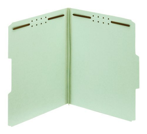 Globe-Weis 100% Recycled Pressboard Fastener Folders, 3-Inch Expansion, 1/3 Cut Tabs, Letter Size, Green, 25 Per Box (24944R) by Globe Weis
