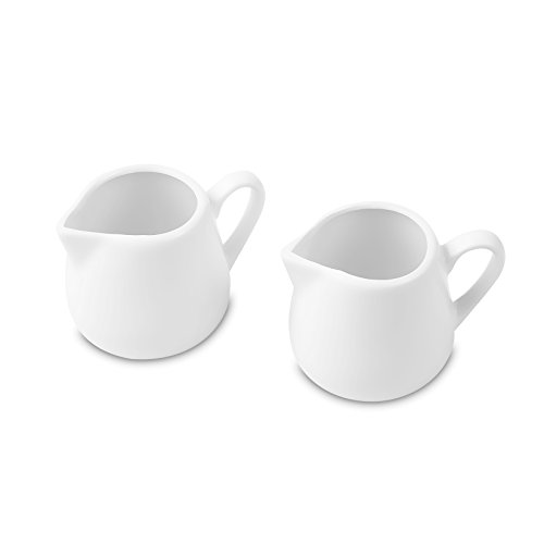 Nucookery White Milk Pot Serving Set – Large 8oz Container Jugs with Spouts for Pouring Coffee Creamer or Tea Sweetener, 2pc (8oz) ()