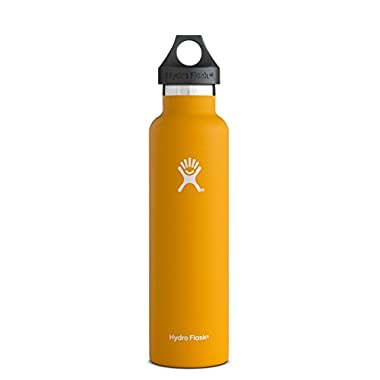Hydro Flask 24 oz Vacuum Insulated Stainless Steel Water Bottle, Standard Mouth w/Loop Cap, Mango