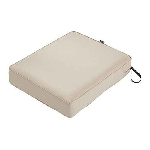 Classic Accessories Montlake Seat Cushion Foam & Slip Cover, Antique Beige, 25x27x5″ Thick