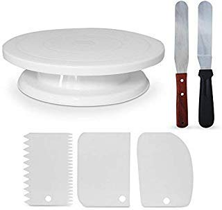 Homeries 6-Piece Cake Decorating Supplies Kit - Turntable with 3 Decorating Comb/Icing Smoothers + 2 Stainless Steel Icing Spatulas - Best for Cake Decorating Training and Party Planning Display