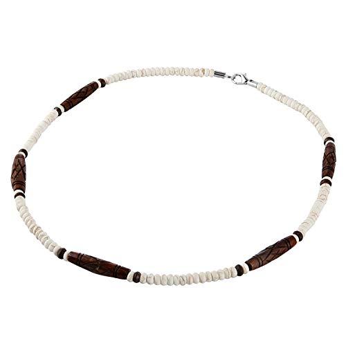 HZMAN Buffalo Bone Native American Inspired Tribal Style Collar Choker Necklace (Brown)