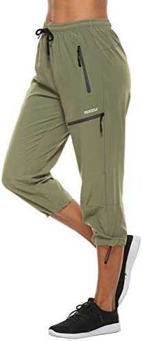 MOCOLY Women's Cargo Hiking Pants Elastic Waist Quick Dry Lightweight Outdoor Water Resistant UPF 50+ Long Pants Zipper