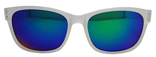 soleil Lens Clear Green UV400 plusieurs Spectrum Lunettes White Frame 100 Blue Verres Wayfarer miroir de Unisexe Designs Ip1qn