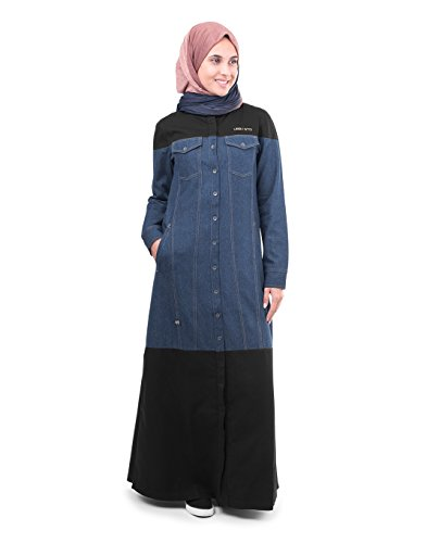 Silk Route© Denim With Black Contrast Hooded Urban Maxi Dress Jilbab