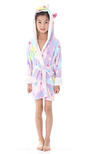 Women's Sleepwear Kids Bathrobe Unicorn Pajamas Sleepwear Boys Girls Hooded Robe Loungewear (Size100 for 35-39