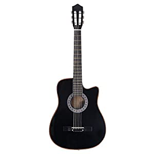 Black Wood Acoustic Guitar with Guitar Case, Strap, Tuner and Pick Black for Dreadnought Beginner Steel String New