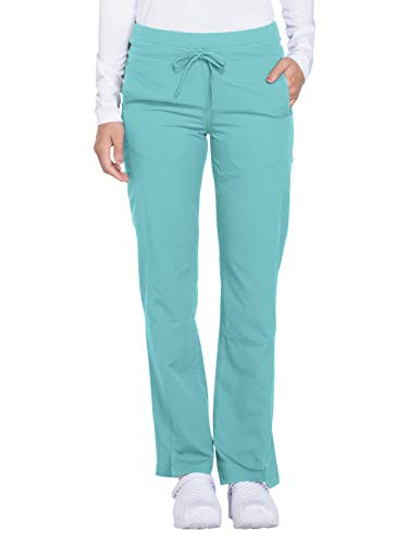 Dickies Women's Dynamix Mid Rise Straight Leg Drawstring Scrub Pants, Tropical Oasis, Large
