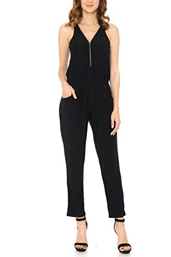 Auliné Collection Womens Solid Sleeveless Front Zip Racerback Pocket Jumpsuit Black -
