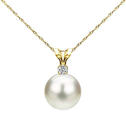 14K Yellow Gold 1/100 Ct Diamond & White 7-7.5mm Freshwater Cultured Pearl Pendant Necklace (G-H, SI1-SI2), 18