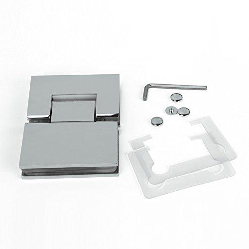 (New Frameless Pivot Shower Door 180 Degree Square Hinge Glass-to-Glass Polish Chrome Solid Stainless Steel)