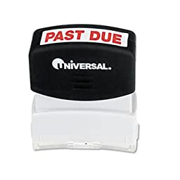 Universal - 4 Pack - Message Stamp Past Due Pre-Inked/Re-Inkable Red \