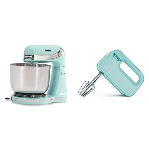 Dash Stand Mixer (Electric Everyday Use) & Smart Store Compact Hand Mixer Electric for Whipping + Mixing Cookies, Brownies, Cakes, Dough, Batters, Meringues & More, 3 speed, Aqua
