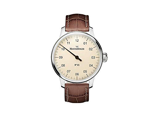 Meistersinger Classic Mens Manual Winding Wrist Watch Analog 40 mm Round Ivory Dial with Sapphire Crystal and Brown Leather Band Business Genuine Luxury Watches – for Men