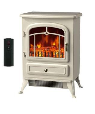 Galleon Fires Original Ivory - White'Lyra' Electric Stove,REMOTE CONTROL 1800W, Freestanding Heater, Electric Fire Place/Fireplace - Chrome Handle - Realistic LED Log Flame Effect Cream Galleon Fireplaces