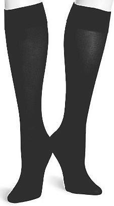 HUE Women's Soft Opaque Knee High, Black, Size 2 (Hue Knee High Socks)