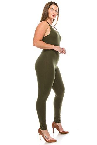 CNC STYLE Women's Active Plus n Regular Size Stretch Yoga Sleeveless One Piece Unitard Bodysuit Jumpsuit Playsuit (3XL,Olive)]()
