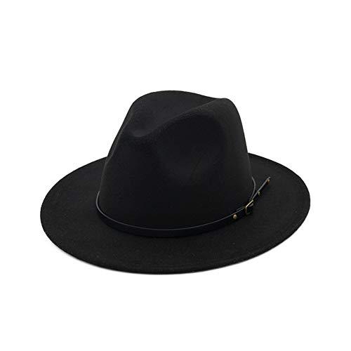 - Vim Tree Women's Classic Wide Brim Fedora Hat with Belt Buckle Felt Panama Hat Black