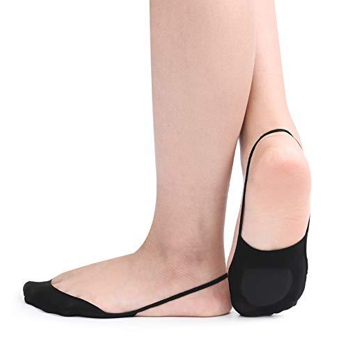 Low Liner (Flammi 4 Pairs Women's Ultra Low Cut Liner Socks with Sling Back No Show Padded Half Socks (Black))