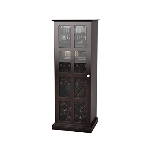 Home Bar Cabinetry Atlantic Wood Bar Wine Rack Liquor Cabinet with 24 Bottle Holder and Glass Storage, Espresso home bar cabinetry