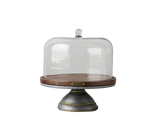 Magnolia Hearth Hand Cake Stand Glass Covered Wooden Farmhouse Kitchen Table ()
