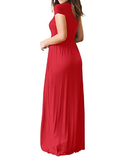 Red Coolred Long Dress Fit Summer Relaxed Short Leisure Women Pocket Sleeve vqgFwvr