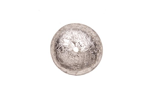 White Silver Foil Glass Bead 14mm Round ()