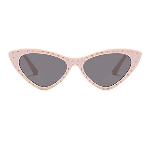 Mujeres Triangle Sunglasses Completo Leopardo Frame Huicai Mod de Sun Vintage Patrón Cat Eye style Glasses Té Small IwqtXat