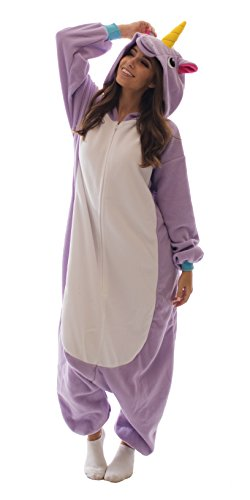 Adult Onesie Unicorn Kigurumi Pajamas (X-Large, Purple Fleece)