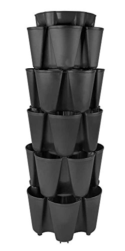 BLACK GreenStalk Large 5 Tier Vertical Garden Planter with Patented Internal Watering System Great for Growing a Variety of Strawberries, Vegetables, Herbs, & Flowers on a Balcony or Deck by Greenstalk