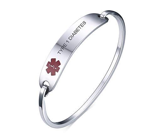 VNOX Medical Alert Emergency Jewelry Type 1 Diabetes Stainless Steel Cufff Bangle Bracelet for Women Girl