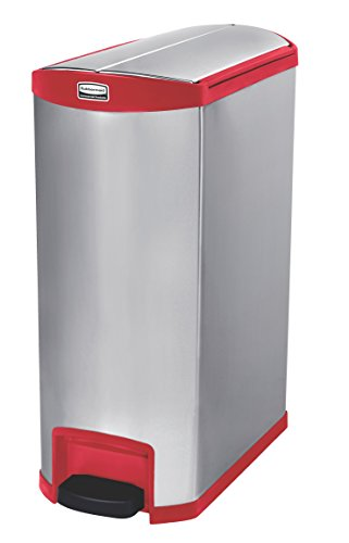 Rubbermaid Commercial Slim Jim Stainless Steel Front Step-On Wastebasket, End-Step, 24-gallon, Red (1902003)