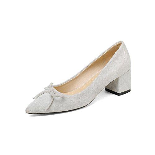 Confortable, con luz en la punta de la gran cantidad de pajarita singles femeninos zapatos gray
