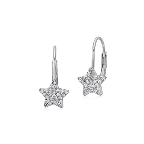 UNICORNJ Sterling Silver 925 Star Leverback Earrings with Pave CZ (Falling Star Earrings)