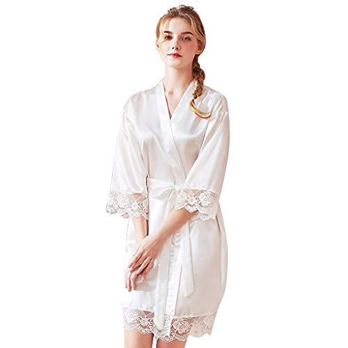 (RAINED-Women's Kimono Robes Satin Pure Colour Short Style with Oblique V-Neck Robe Lace Trim Bathrobes Sleepwear White)