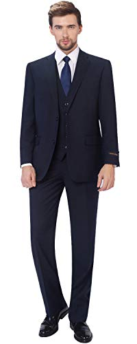 P&L Men's 3-Piece Classic Fit Vest Suit Jacket & Expandable Waist Dress Pants Navy