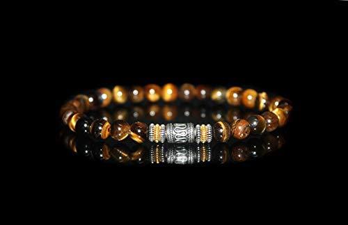 Sterling Tigers - Tiger's Eye Bracelet, Men's Tiger's Eye and Sterling Silver Beads Bracelet