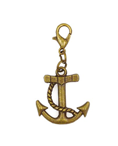 Charm Anchor Small (Bronze 23mm Anchor Clip On Charm Bead Perfect for Necklaces and Bracelets (ZC 94X))
