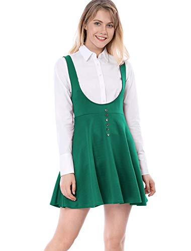 (Allegra K Women's Solid Button Decor Flared Hem Overall Dress Suspender Skirt XL Green )