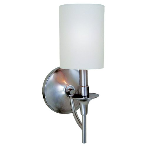 Sea Gull Lighting 41260-962 Bathroom Sconce with White Linen Fabric Shades, Brushed Nickel ()