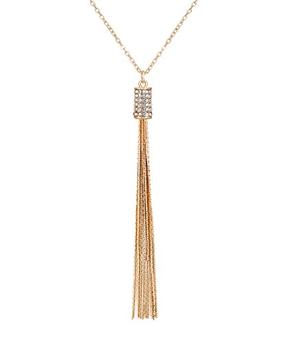 Set Gold Rhinestone Tone Jewelry - MOLOCH Long Tassel Pendant Necklace Rhinestone Bar Pendant Necklace Cute Y Necklace Set Chic Jewelry for Woman (Gold)