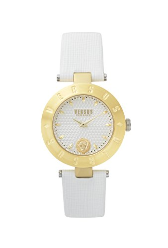 Versus by Versace Women's New Logo Stainless Steel Quartz Watch with Leather Calfskin Strap, White, 18 (Model: S77030017)